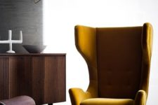 24 a mustard velvet wingback styled as in the 1950s is ideal for a mid-century modern space