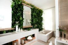 25 a modern bathroom with a lush living wall and wood to give it a natural feel