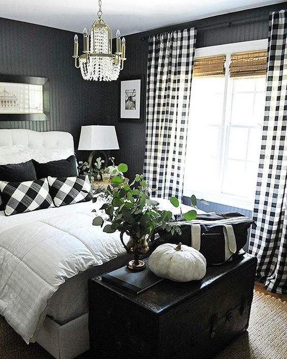 go for buffalo check curtains and matching pillows in your bedroom to brighten up the room keeping it cozy