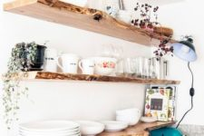 25 make open shelving more interesting with a live edge like here