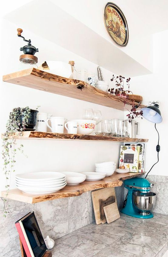 make open shelving more interesting with a live edge like here