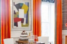 25 spruce your home with bold curtains like here, orange draperies and geometric print Roman shades