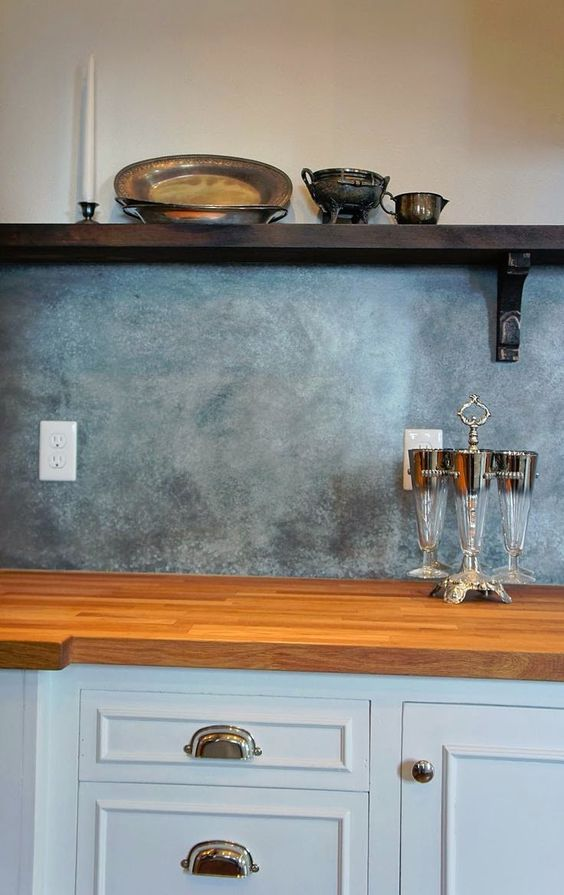 galvanized metal kitchen backsplash is a great and unusual idea for a rustic kitchen