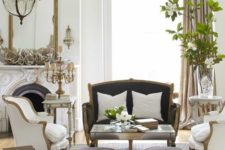26 refined vintage upholstered furniture and a matching mirror for a Parisian living room