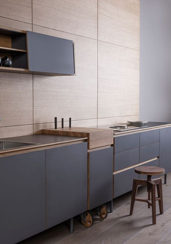 minimalist blue kitchen cabinets on legs and casters for easier rearranging them around the space