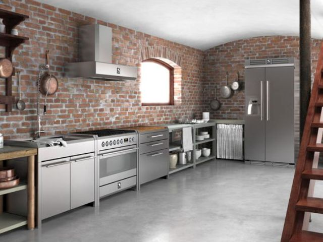 modern metal freestanding cabinets look more lightweight than usual ones, which is essential in an industrial space
