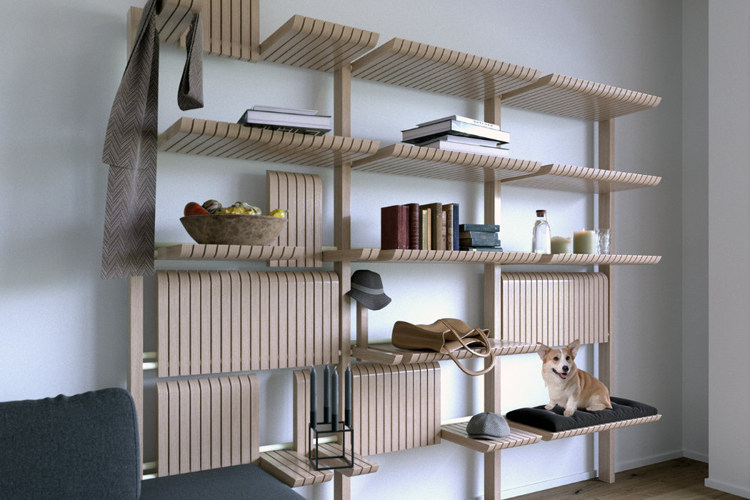 GATE is a highly adaptable shelving unit that features much storage space, which can be changed anytime
