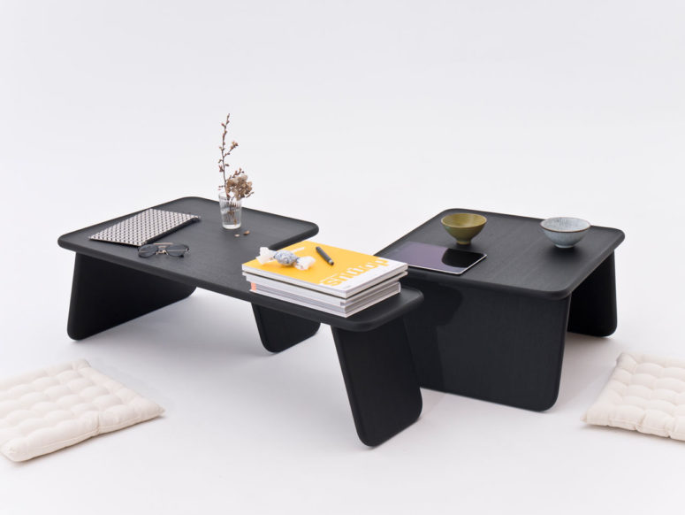 The Bento Tray table collection is inspired by Japanese bento trays and features Japandi aethetics
