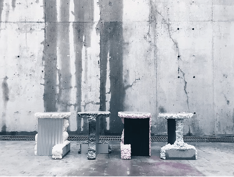 These stools are from FROAM furniture collection that is made of metal and urethane foam of different shades