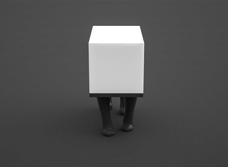 The Kafka lighting piece looks like a cat stuck in a white box and this is a cool touch of feline insanity for cat fans