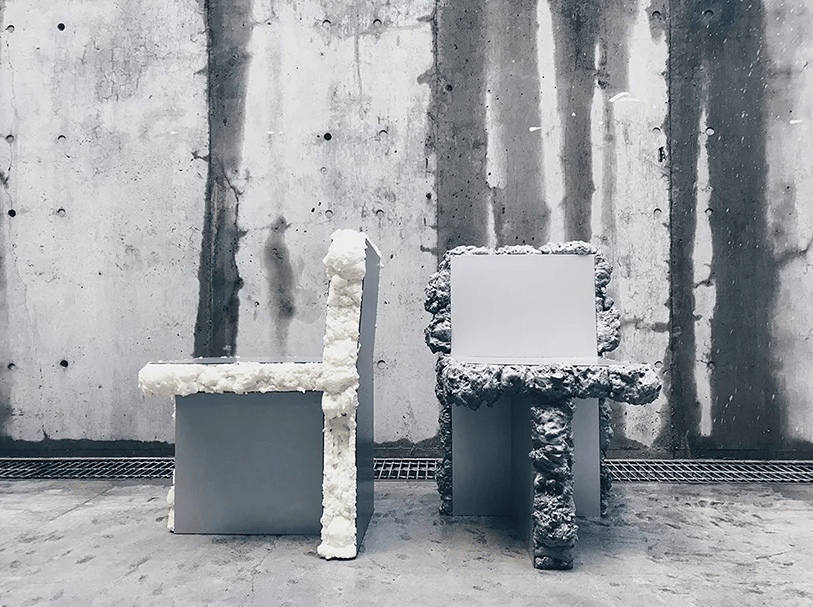The furniture itself is minimalist but the foam added makes it look industrial and even adds a crazy feel
