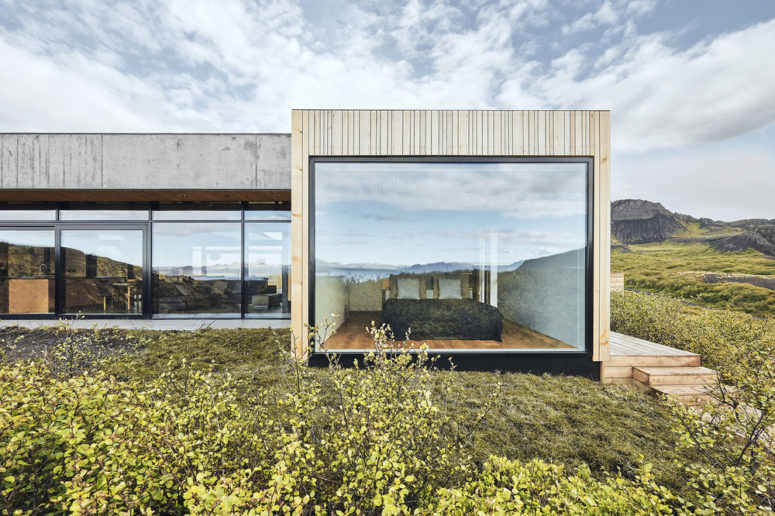 The house features extensive glazing and is positioned to catch maximum of the views