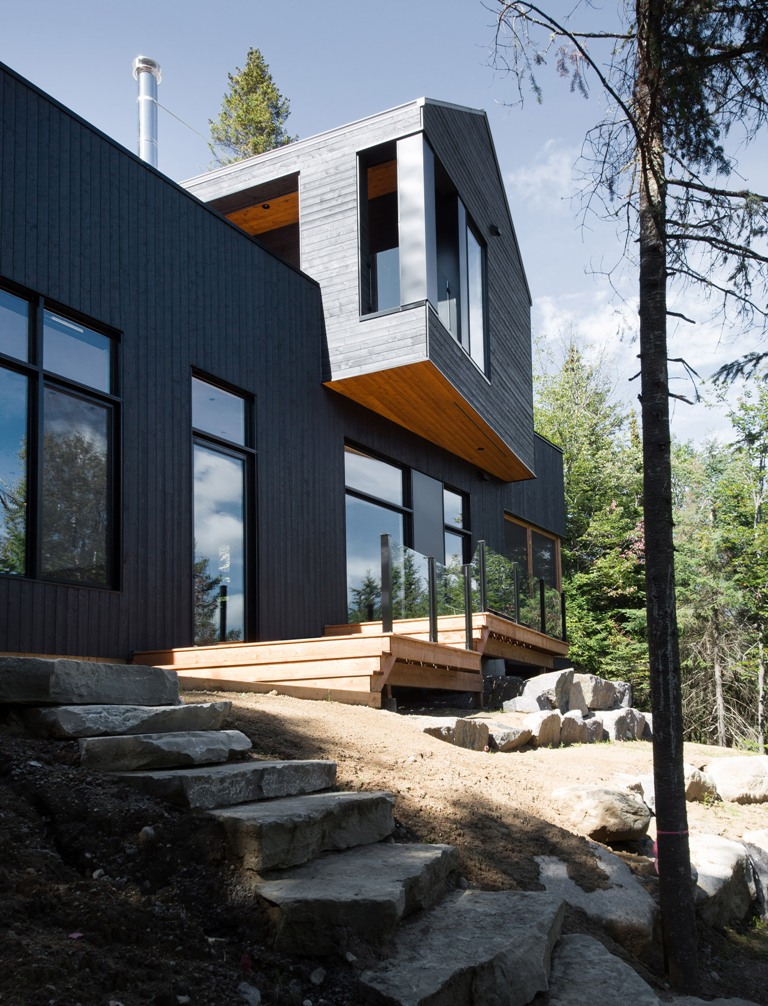 The house is located on a slope, which offers the views, and it's clad with black timber to make it blend with the surroundings