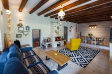 living room with exposed wooden beams