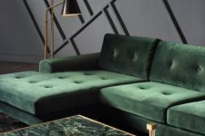 02 a half brass and half green marble coffee table brings a refined and chic touch to the living room