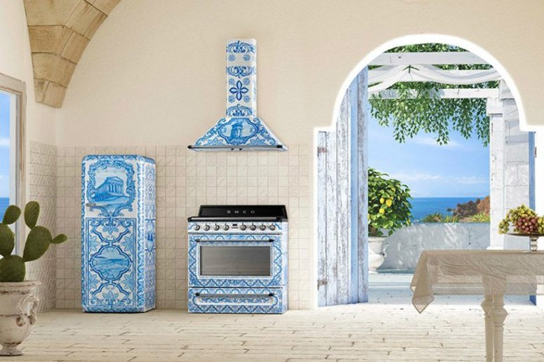 Here's the whole blue range in the kitchen to make a colorful statement