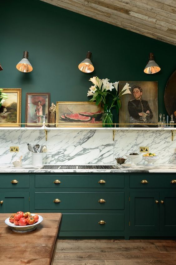 cover the backsplash and countertops with the same marble temporary wallpaper that can be removed