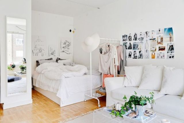white is the most universal color for any space and it makes it look bigger, so choosing it is a win-win idea
