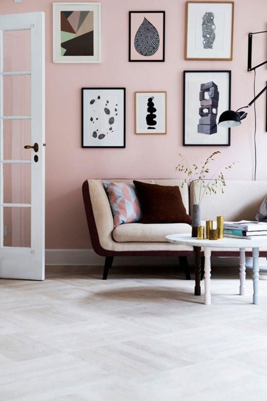 rocking a rose quartz statement wall is a chic and refined idea, pastels will never go out of style