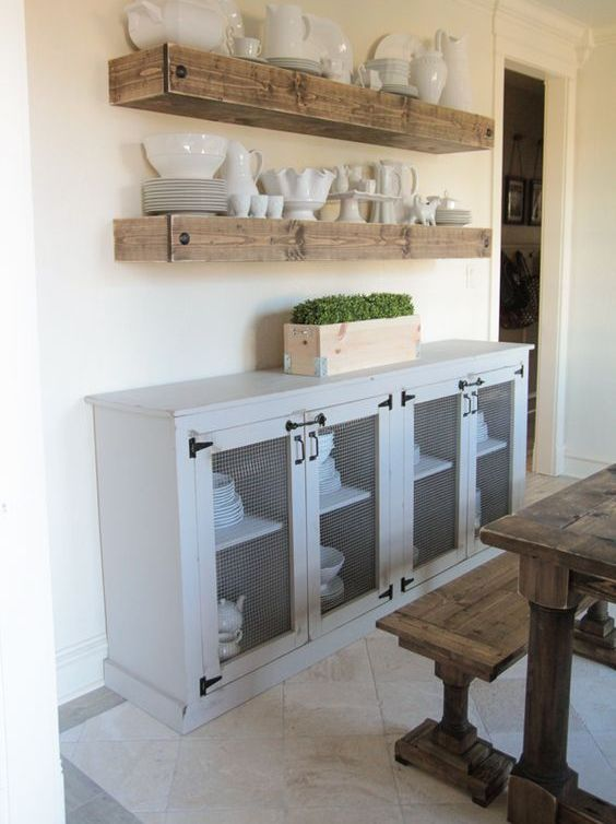 if you have a rustic space, you may go fro stained wooden floating shelves like these ones