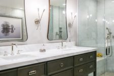 10 There's a shower and much storage space in the vanity