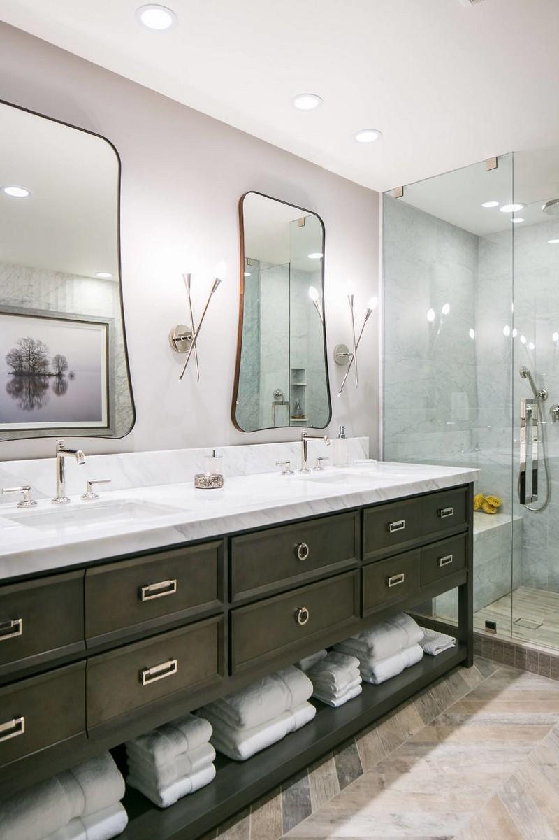There's a shower and much storage space in the vanity