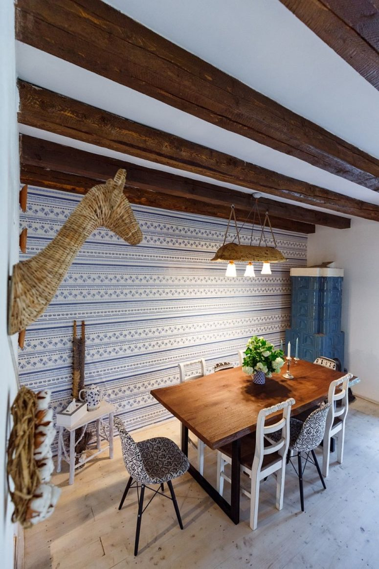 The dining space features a cool wall covered with traditional fabric and matching chairs, wow