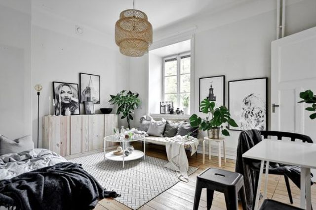 a Scandinavian apartment done in black and white for a timeless and stylish look