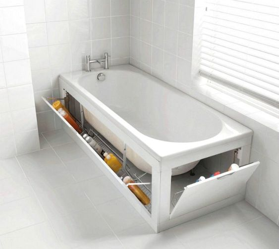 bathtub screens hiding some chemicals are a great idea for hidden storage to declutter the space
