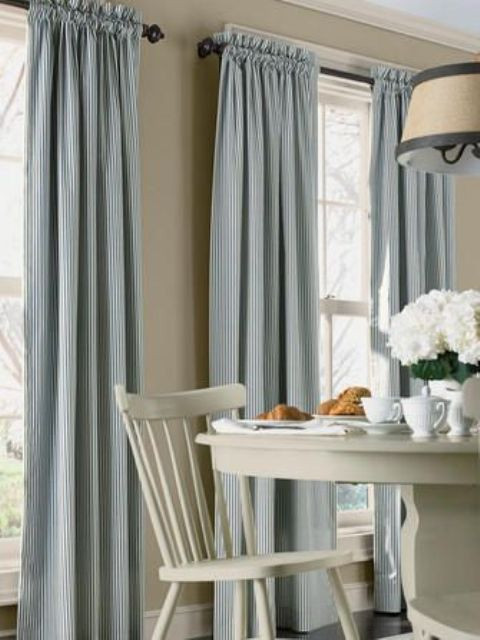 Striped rod pocket curtains is a nice decorative solution but they aren't a good thing for those who need to open and close the curtains