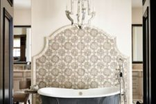 15 a refined cutout backsplash done with eye-catchy printed tiles makes a chic statement