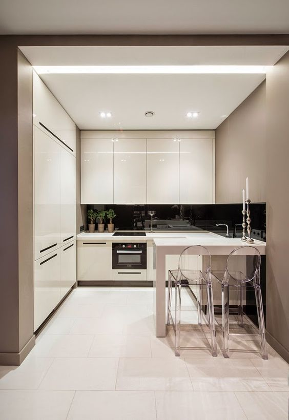 built-in lights and glossy cabinets that reflect the light and make the space even bigger