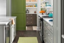 16 a grass green painted barn door separates the kitchen and pantry and adds a cute colorful touch