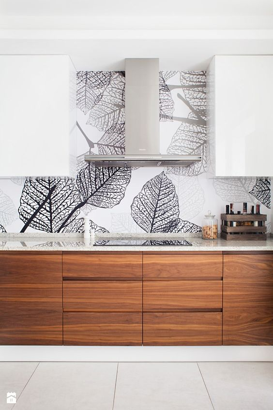 add a unique look to the minimalist kitchen and change it any time changing the wallpaper and adding new touches