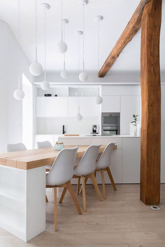 many pendant lamps of the same design create a whole installation and work as art in your kitchen
