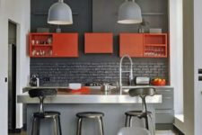 18 a small kitchen island of grey plywood and a metal countertop can be used as a breakfast nook