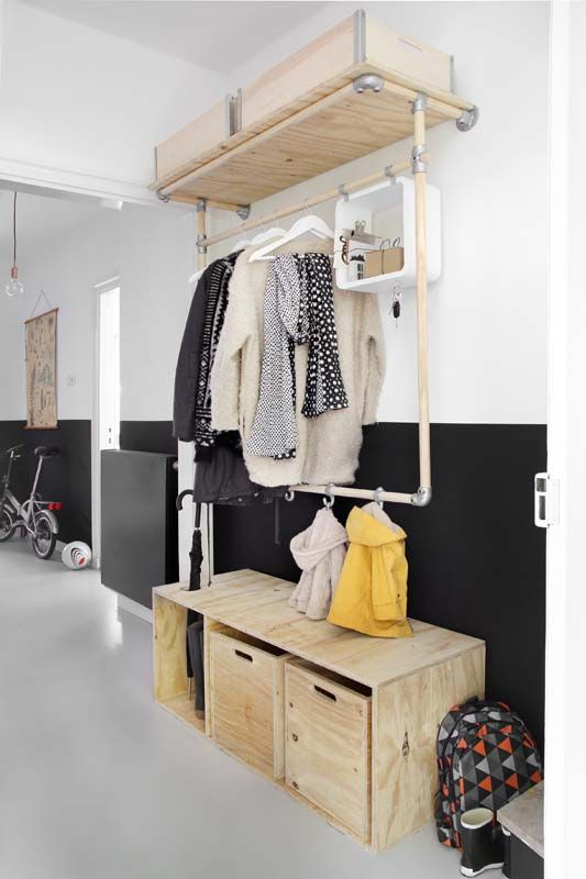 a plywood storage bench with an open compartment and drawers is a practical solution