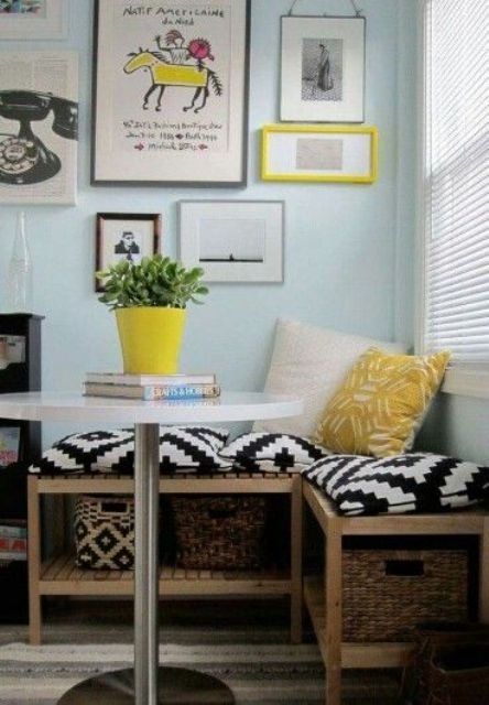 a small corner bench with baskets for storage inside will fit even the tiniest space