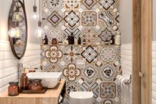 20 an accent mosaic wall changes the whole look of this very small bathroom