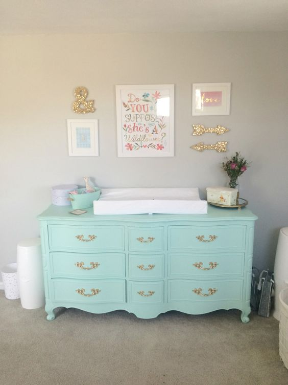 a mint-colored dresser can double as a changing table, which is a smart idea