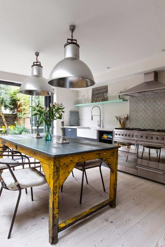 A Vintage Industrial Kitchen Island And Table With A Metal Tabletop And  Vintage Shabby Legs