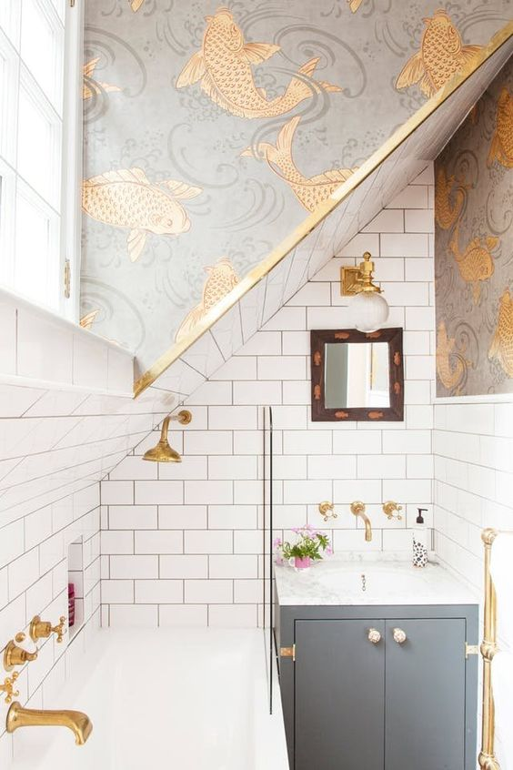 catchy printed wallpaper is a trend, and such wallpaper can totally change the look of your bathroom