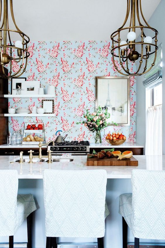 wallpaper backsplashes are a durable option, keep it in mind while making one