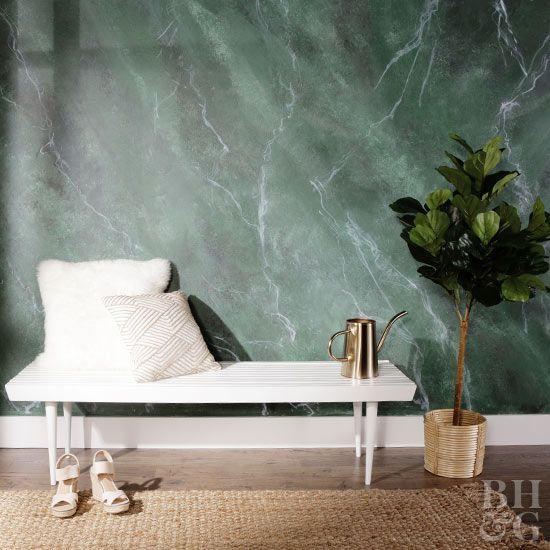 green marble wallpaper will turn your entryway into a gorgeous and stunning space