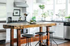 vintage-looking industrial kitchen island