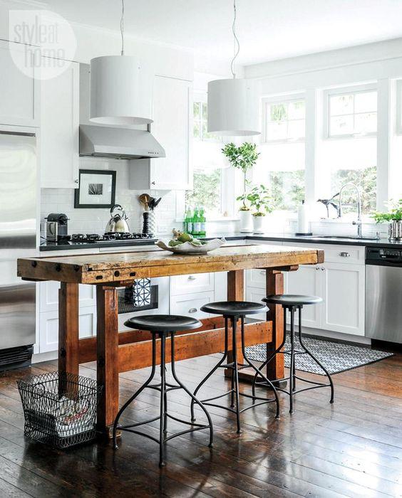 vintage looking industrial kitchen island