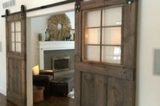 25 sliding barn doors with clear glass inserts make the look not too bulky and let the light in