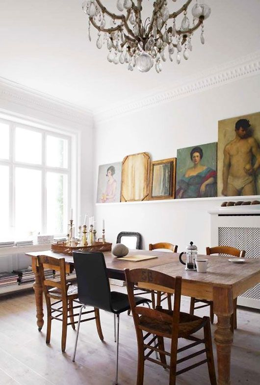 An Antique Dining Table And Rustic Modern Chairs Of Wood Metal For A Fresher