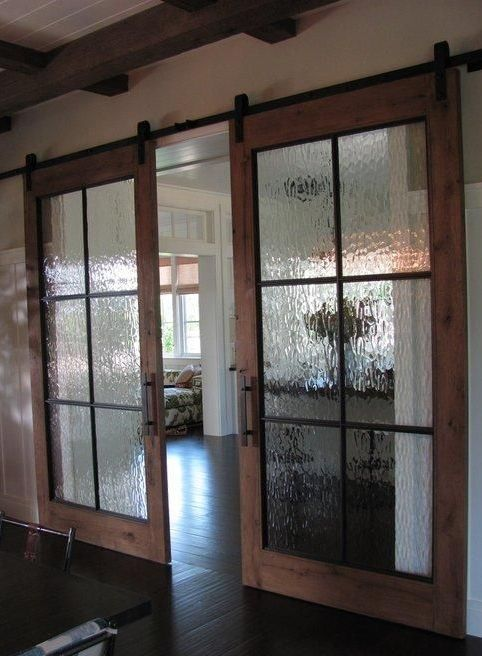 Sliding Barn Doors With Rainy Glass Inserts To Make The Doors Look More  Subtle And Let