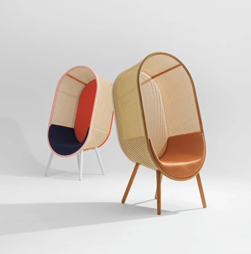 This cool colorful lounge chair is inspired by the 60s and is called Cocoon, which is clearly seen in its shape